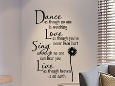 wall decals for teens | Girls Bedroom Wall Decal Dance As Though No One Is Watching