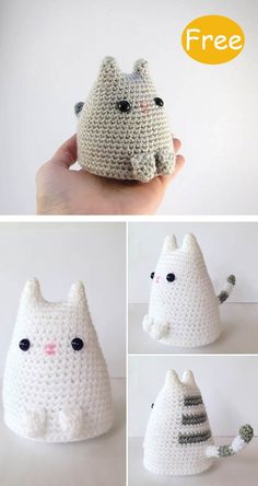 Kitty Cat Crochet Free Pattern - - Cat-lovers will squeal with delight at the sight of this Amigurumi Kitty Cat Crochet Free Pattern. They will be a home deco or great gifts for friends. Crochet Pour Halloween, Halloween Crochet Patterns, Crochet Cat Pattern, Crochet Amigurumi Free Patterns, Crochet Animal Patterns, Knitting Patterns, Chat Crochet, Crochet Mignon, Crochet Diy