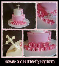 Flower ans Butterfly Baptism Cake