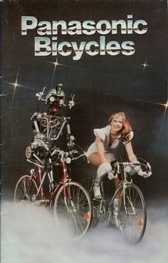 Disco robot bicycles by Panasonic Vintage Robots, Retro Robot, Welcome To The Future, The Future Is Now, Velo Vintage, Vintage Bicycles, Weird Vintage, Vintage Ads, Nu Project
