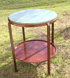 Custom made Iron base with stained concrete top table! Can be made any shape or size with the stain of your choice! Great for both indoor and outdoors. Custom Made Furniture, Stained Concrete, Craft Projects, Custom Design, Outdoors, Iron, Indoor, Base, Shapes