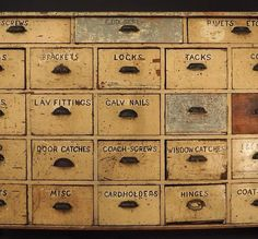 Antique drawers. Industrial Drawers, Vintage Industrial, Industrial Living, Industrial Furniture, Primitive Furniture, Country Furniture, Country Decor, Paint Furniture, Cool Furniture