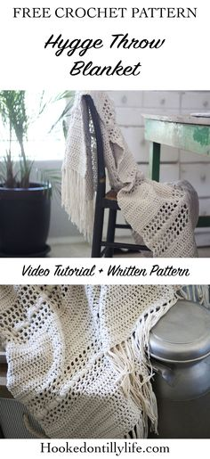 free crochet blanket, crochet throw, chunky, chunky fringe DIY afghan, quick crochet project, rustic, farmhouse blanket, do it yourself, mesh stitch, puff stitch, boho, bohemian blanket pattern, hooked on tilly