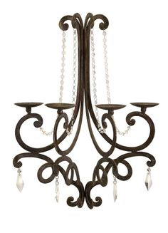 IMAX Harmony Chandelier Wall Sconce - Stylized take on a traditional French chandelier. Cute curved iron wall sconce with crystal details holds small pillar or votive candles.