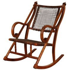 Rare George Hunzinger Rocking Chair with Patented Steel Webbing, 1869 1