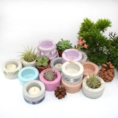 Items similar to Marble Candle holder, Concrete Air plant holder, Small cactus planter, Concrete planters, Succulent pot set on Etsy