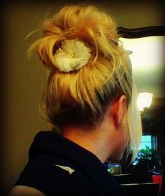 Back comb hair line at root. Messy High Bun, Back Combing, Hair Affair, Awesome Hair, Cosmetology, Bun Hairstyles, Flowers In Hair, Dreadlocks, My Style