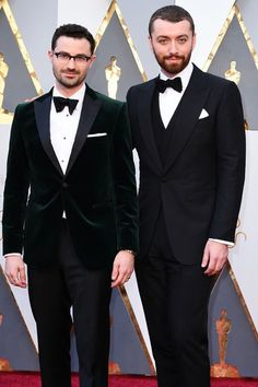 These 21 Cute Couples Ruled The Oscars Red Carpet  #refinery29  http://www.refinery29.com/2016/02/103021/oscars-cutest-couples#slide-2  Songwriter Jimmy Napes and Sam Smith...