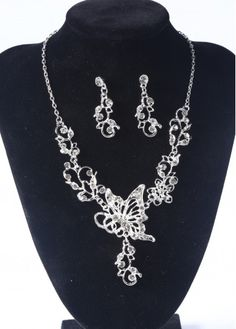 Silver Butterfly Necklace and Flower Earrings Set on sale only US$9.10 now, buy cheap Silver Butterfly Necklace and Flower Earrings Set at lulugal.com