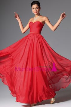 2015 Sweetheart Prom Dresses A-Line Chiffon Ruched Bodice With Ribbon