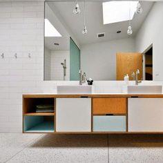 Mid Century Bathroom Vanity, Mid Century Modern Bathroom, Modern Bathroom Tile, Bathroom Interior, Small Bathroom, Bathroom Ideas, Bathroom Designs, Modern Bathrooms, Bathroom Mirrors