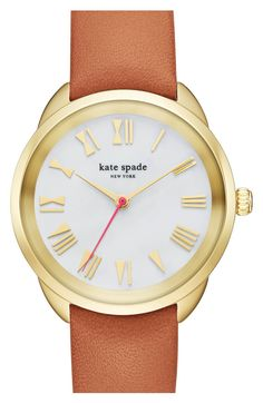 Main Image - kate spade new york 'crosstown' leather strap watch, 34mm