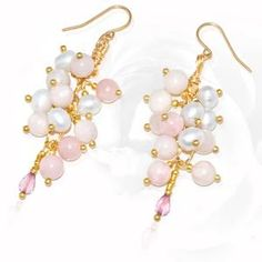 Regenz 'Cluster' Earrings with Pink Opal and Imperial topaz Brand New Cluster Earrings, Drop Earrings, Imperial Topaz, Pink Opal, Stone Jewelry, Jewels, Store, Tent, Shop Local