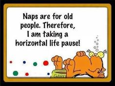 Naps are for old people. Therefore, I am taking a horizontal life pause!