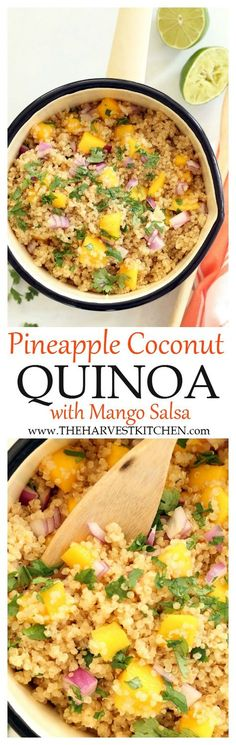 Enjoy this Pineapple Coconut Quinoa alone or as a side dish to grilled chicken or fish. The combo of flavors here is light and summery and fresh and luscious. And served with juicy ripe mango... amazing! | clean eating| | healthy recipes | | vegetarian recipes |