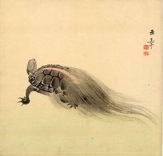 KAWABATA Gyokusho(川端 玉章 Japanese, 1842-1913 : Minogame 蓑亀(turtle with weeds tail) 1900