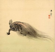 KAWABATA Gyokusho(川端 玉章 Japanese, 1842-1913 : Minogame 蓑亀(turtle with weeds tail) 1900