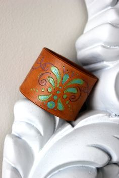Love this hand painted leather cuff by Purely Poiema!!