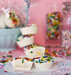 Cake Batter Candy Cups recipe.  Preeeeeeety perfect for packaging up in cute bags and handing at a birthday party, if you ask me.