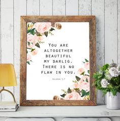 You are altogether beautiful my darlig,Solomon 4:7,Bible Verse,Watercolor roses,Scripture Quote print,Bible Verse Art,marriage, wedding by MakesMyDayHappy on Etsy