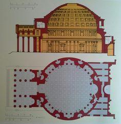 Corte y plano del Panteon de Agripa