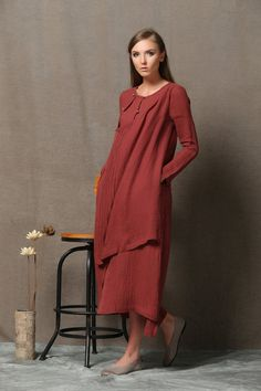 Red Linen Comfortable Maxi Dress C558 by YL1dress on Etsy