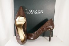 1857022ee7 Ralph Lauren Women Brown Leather Pointed Heels Croc Print Pump Shoes Size  7.5 B