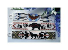 Native American Beaded Bracelets Pattern   Native American Totem Trio Cuffs by Out Of The Flames