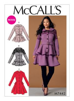 Coat Patterns, Clothing Patterns, Dress Patterns, Couture, Peplum Coat, Do It Yourself Fashion, Vogue, Mccalls Sewing Patterns, Sewing Clothes