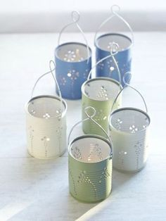 Next time you want to toss a tin can in the recycling bin, think again! Instead, save a few and turn them into adorable lanterns, perfect for lining a sidewalk or bordering a garden.