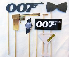 James Bond Photo Booth Prop Collection. Set or A La Carte. Photo Props for parties and weddings. Theme.. $29.00, via Etsy.