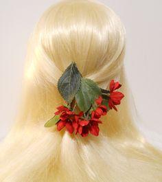 #CherryBlossom Hair Clip Red Flower Red Spring Cherry Blossom Hanging Cascading Flowers Wedding Flower Girl Bride Romantic Mori Kawaii