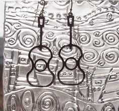 MUSIC Series  Guitar Earrings in Sterling Silver by seastar1, $25.00