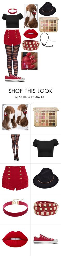 """""""Chae-Yon Moto (Concert Outfit)"""" by lord-nightshade ❤ liked on Polyvore featuring Alice + Olivia, Pierre Balmain, Valentino, Lime Crime and Converse"""