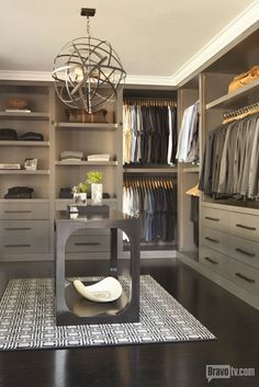 Talk abut a walk in closet! Note the meticulously color coordinated clothes. Yup, this is definitely Jeff Lewis' closet.