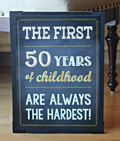 "50th Birthday Party Sign ""It Took 50 Years To Look This Good"".  11x17 // Any Age // Physical Product.  Black, chalkboard and gold. by CharmingTouchParties on Etsy"