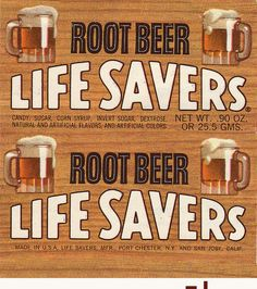 Life Savers - Root Beer - roll wrapper - (Just saw this and swear I tasted one in my mouth! Retro Candy, Vintage Candy, Vintage Food, My Childhood Memories, Sweet Memories, Penny Candy, Vintage Packaging, Oldies But Goodies, Candy Store