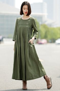 Green Linen Dress Casual Pleated Loose-Fitting by YL1dress