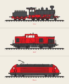 screen printed set of 3 trains by mike klay.  #flatstock