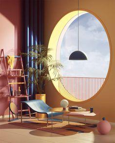 11 Digital Surrealists: 3D artists creating dreamlike spaces – Trendland Online Magazine Curating the Web since 2006 Interior Architecture, Interior And Exterior, Color In Architecture, Library Architecture, Arch Interior, Interiores Art Deco, Casa Retro, Retro Interior Design, Deco Retro