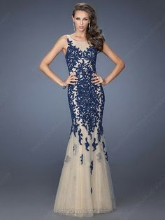 Mermaid Satin Tulle Scoop Neck Appliques Lace Sweep Train Formal Dresses