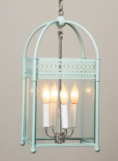 Beautiful!  Love the shade of turquoise.  Urban Electric Co. Lantern.