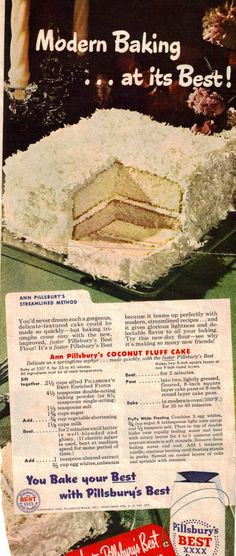 Pillsbury's Coconut Fluff Cake -- this vintage cake with a velvety textured crumb, frosting, and lots of coconut is the ultimate dessert. No wonder why it's stood the test of time. Retro Recipes, Old Recipes, Vintage Recipes, Cookbook Recipes, Baking Recipes, Cake Recipes, Dessert Recipes, 1950s Recipes, Recipies