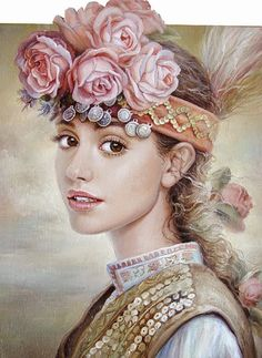 Female portrait by Bulgarian painter Maria Ilieva Art And Illustration, Illustrations, L'art Du Portrait, Female Portrait, Mural Painting, Paintings, Bulgarian, Various Artists, Face Art