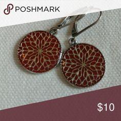 Flower Mandala Earrings Very pretty circular flower mandala earrings. Silver design on a red lacquer background. Baked Beads Jewelry Earrings