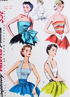 1950s Gorgeous Evening Halter Blouse and Strapless Bodice Tops Simplicity 4320 Three Beautiful Styles Bust 32 Vintage Sewing Pattern