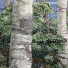 Birches, Sewn art of Merle Axelrad Artist working in facric and textiles