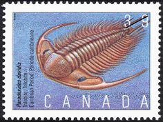 Stamp: Paradoxides davidis, Trilobite, Cambrian Period (Canada) (Prehistoric Canada (1st series), Primitive Life) Mi:CA 1189,Sn:CA 1279,Yt:CA 1151,Sg:CA 1392