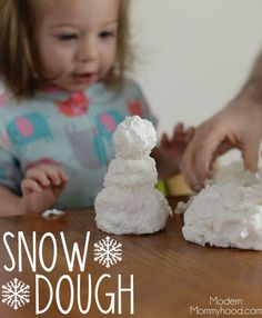 Snow Dough - a fun sensory recipe for toddlers and kids made from 3 simple things that most everyone has in their homes! Get ready to have some clean fun with this hands on activity!