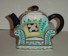 Mary Engelbreit Couch Teapot with Scottie Dog on back 2001 RARE